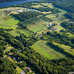 Farms next to the Connecticut River in Middletown, Connecticut.  Aerial.