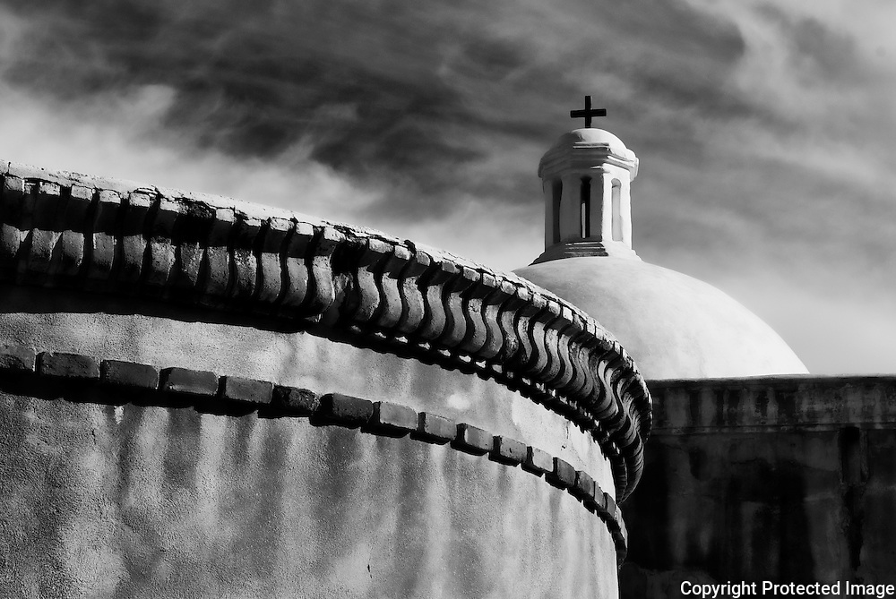 The church at the Tumacácori National Historical Park in southern Arizona in black and white. Missoula Photographer