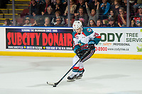 KELOWNA, CANADA - JANUARY 4:  Leif Mattson #28 of the Kelowna Rockets skates with the puck during the shoot out against the Prince George Cougars on January 4, 2019 at Prospera Place in Kelowna, British Columbia, Canada.  (Photo by Marissa Baecker/Shoot the Breeze)