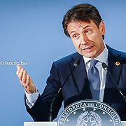European Summit meeting of the EU heads of states and governments at the European Council headquarters . Press Conference of Giuseppe Conte at the end of the European Council . <br /> Pix : Giuseppe Conte