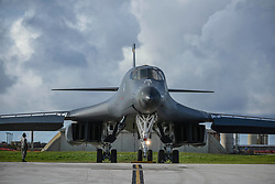 A U.S. Air Force B-1B Lancer assigned to the 37th Expeditionary Bomb Squadron, deployed from Ellsworth Air Force Base, South Dakota, prepares to take off from Andersen Air Force Base, Guam, for a 10-hour mission, flying in the vicinity of Kyushu, Japan, the East China Sea, and the Korean peninsula, Aug. 7, 2017 (HST). During the mission, two B-1s were joined by Japan Air Self-Defense Force F-2s as well as Republic of Korea Air Force KF-16 fighter jets, performing two sequential bilateral missions. These flights with Japan and the Republic of Korea (ROK) demonstrate solidarity between Japan, ROK and the U.S. to defend against provocative and destabilizing actions in the Pacific theater. (U.S. Air Force photo/Tech. Sgt. Richard P. Ebensberger)