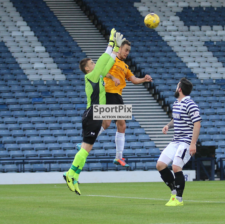 William Muir Queens Keeper is brave to clear headed chance for gordon smith during the Queens Park FC V Dumbarton FC Petrofac Training Cup 18th August 201(c) Andy Scott | SportPix.org.uk