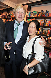 Mayor of London BORIS JOHNSON and his wife MARINA at a party to celebrate the publication of Stanley Johnson's new book 'Where The Wild Things Were' held at Daunt Books, 83 Marylebone High Street, London W1 on 18th July 2012.
