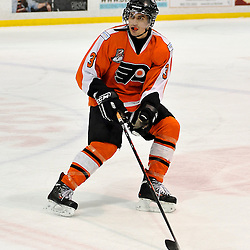 WHITBY, ON - Feb 11: Ontario Junior Hockey League game between Orangeville Flyers and Whitby Fury. Brian Fonseca #3 of the Orangeville Flyers Hockey Club during third period game action.<br /> (Photo by Shawn Muir / OJHL Images)
