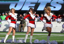 Dec 23, 2012; East Rutherford, NJ, USA; Members of the New York Jets flight crew perform during the first half of their game against the San Diego Chargers at MetLIfe Stadium.