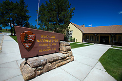National Park Service sign outside Visitor Center and Headquarters, Wind Cave National Park, South Dakota, United States of America