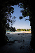 Cave entrance at Butterfield Beach, Stewart Island, New Zealand