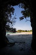 Cave entrance at Butterfield Beach, Stewart Island, New Zealand