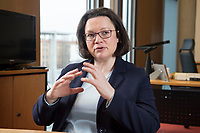 15 MAR 2018, BERLIN/GERMANY:<br /> Andrea Nahles, SPD Fraktionsvorsitzende, waehrend einem Interview, in ihrem Buero, Jakob-Kaiser-Haus, Deutscher Bundestag<br /> IMAGE: 20180315-01-005<br /> KEYWORDS: B&uuml;ro