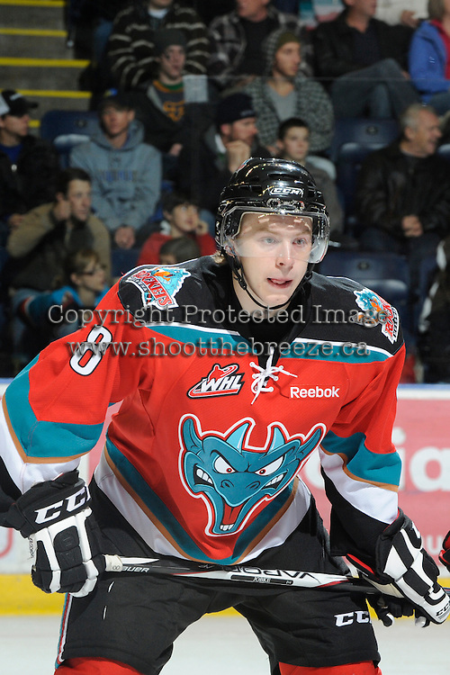 KELOWNA, CANADA, OCTOBER 26:  Cole Martin #8 of the Kelowna Rockets faces off as the Prince George Cougars visit the Kelowna Rockets  on October 26, 2011 at Prospera Place in Kelowna, British Columbia, Canada (Photo by Marissa Baecker/Shoot the Breeze) *** Local Caption *** Cole Martin;
