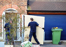 &copy; Licensed to London News Pictures.06/04/2018<br /> HITHER GREEN, UK.<br /> METAL SECURITY GRIILS BEING FITTED TO RICHARD OSBORN- BROOKS HOME THIS EVENING. <br /> DAY 3. Hither Green Burglary Murder. South Park Crescent,Hither Green.<br /> Police outside the home of 78 year old Richard Osborn-Brooks who has been bailed for stabbing a burglar to death in his home.<br /> Photo credit: Grant Falvey/LNP