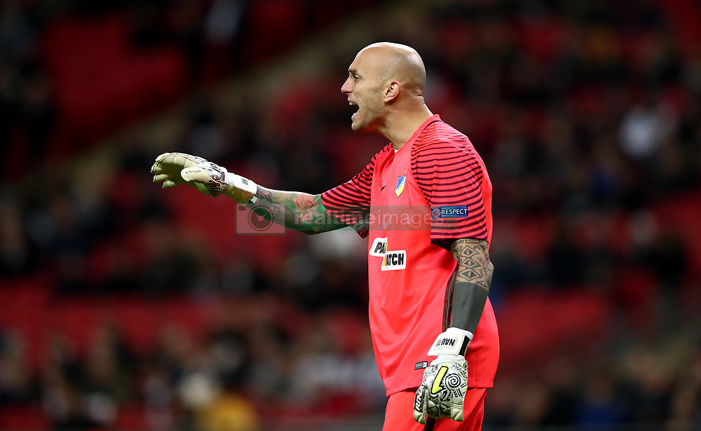 APOEL Nicosia's goalkeeper Nauzet Perez gestures
