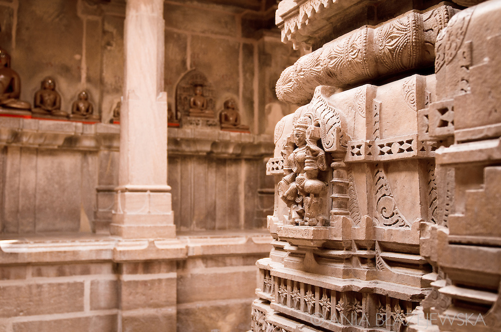 India, Jaisalmer. Architectural detail from the Jain temple in Jaisalmer.