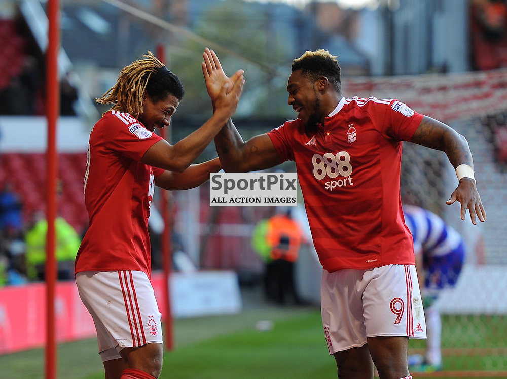 Hildeberto Pereira of Notts Forest and Britt Assombalonga of Notts Forest celebrate together during Nottingham Forest vs Queens Park Rangers, Championship, 5.11.16 (c) Harriet Lander | SportPix.org.uk