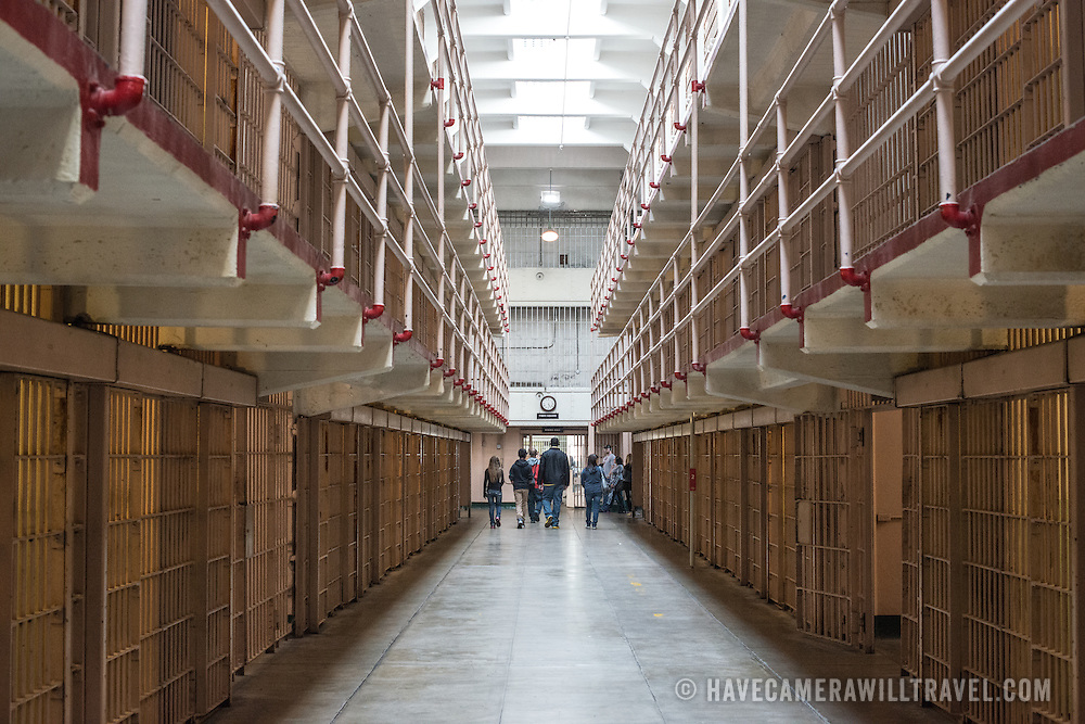 Inside the cell block where the inmate's cells were in Alcatraz prison on Alcatraz Island in San Francisco Bay.