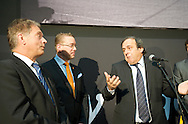 Michel Platini attend at opening of Turku-European Capital of Culture 2011. after his speech he answered to questions by journalist and audience. January 14th, 2011, Turku, Finland. (L-R  Sauli Niinist, Stefan Wallin, Michel Platini-)