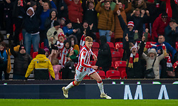 STOKE-ON-TRENT, ENGLAND - Saturday, January 25, 2020: Stoke City's Sam Clucas celebrates scoring the first goal during the Football League Championship match between Stoke City FC and Swansea City FC at the Britannia Stadium. Stoke City won 2-0. (Pic by David Rawcliffe/Propaganda)