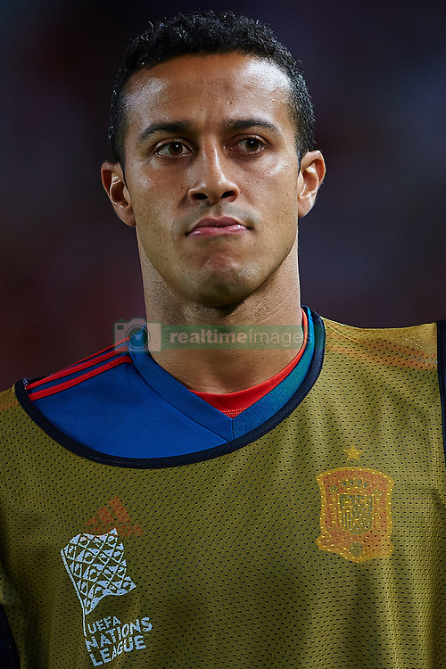 September 11, 2018 - Elche, Alicante, Spain - Thiago of Spain looks on during the UEFA Nations League football match between Spain and Croatia at Martinez Valero Stadium in Elche on September 11, 2018  (Credit Image: © Sergio Lopez/NurPhoto/ZUMA Press)