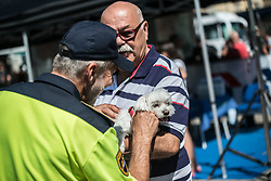 Policeman Matjaz Lestkovar with puppy during 2nd Stage of 26th Tour of Slovenia 2019 cycling race between Maribor and Celje (146,3 km), on June 20, 2019 in  Slovenia. Photo by Peter Podobnik / Sportida