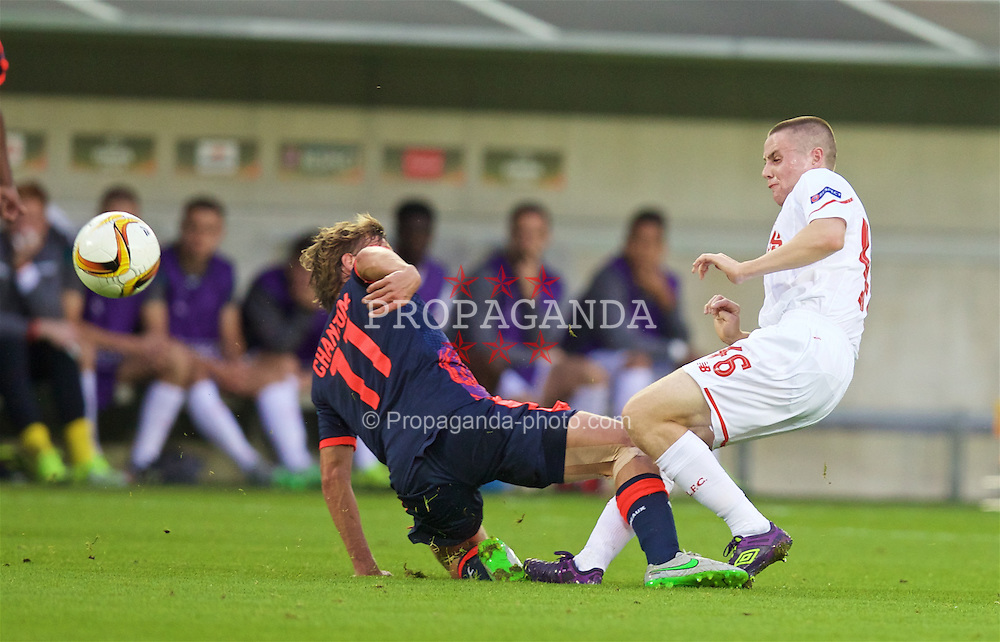 BORDEAUX, FRANCE - Thursday, September 17, 2015: Liverpool's Jordan Rossiter is tackled by FC Girondins de Bordeaux's Clement Chantome during the UEFA Europa League Group Stage Group B match at the Nouveau Stade de Bordeaux. (Pic by David Rawcliffe/Propaganda)