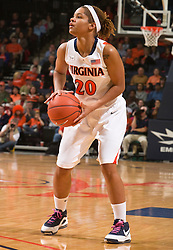 Virginia guard Kristen London (20) lines up for one of her three 3 point shots against BC.  The #21 ranked Virginia Cavaliers defeated the Boston College Eagles 90-70 at the John Paul Jones Arena in Charlottesville, VA on February 22, 2009.