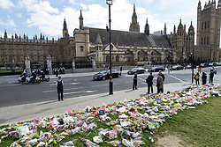 © Licensed to London News Pictures. 10/04/2017. London, UK. The Family of PC Keith Palmer arrive by car at The Houses of Parliament ahead of his funeral at Southwark Cathedral later this afternoon (Mon). PC Palmer was murdered just inside the gate by Westminster attacker Khalid Masood - an attack in which he also killed four people on Westminster Bridge. PC Palmer's funeral will take place at Southwark Cathedral today. Photo credit: Peter Macdiarmid/LNP