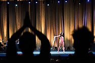 LOS ANGELES, CA - OCTOBER 22, 2016:  <br /> <br /> Framed by members of the audience who stood up to cheer for her, Johanna (Washington state) models her swimsuit during the Transnation Queen USA 2016 pageant, a transgender beauty pageant held at The Theater at The Ace Hotel in downtown Los Angeles.<br /> <br /> (Melissa Lyttle for The Guardian)