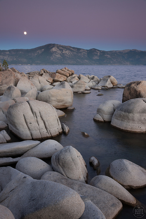 """Full Moon Over Lake Tahoe 12"" -These boulders, full moon, and alpenglow sunset were photographed at Crystal Point in Crystal Bay, Lake Tahoe."