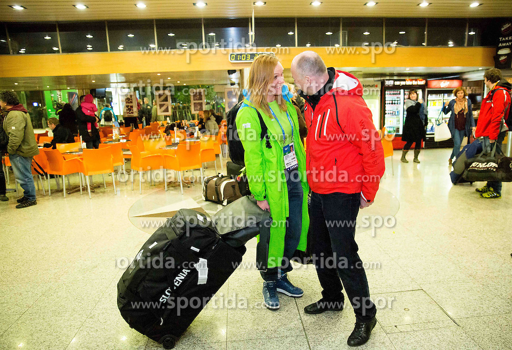 Petra Majdic and Rok Cuderman of Petrol at reception of Slovenia team arrived from Winter Olympic Games Sochi 2014 on February 25, 2014 at Airport Joze Pucnik, Brnik, Slovenia. Photo by Vid Ponikvar / Sportida