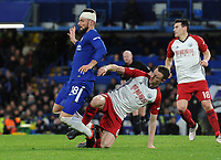 Football - 2017 / 2018 Premier League - Chelsea vs. West Bromwich Albion<br /> <br /> Olivier Giroud of Chelsea making his home debut, is fouled from behind by Jonny Evans at Stamford Bridge.<br /> <br /> COLORSPORT/ANDREW COWIE