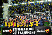 21.04.2013 Sydney, Australia. Mariners celebrate their win during the Hyundai A League grand final game between Western Sydney Wanderers FC and Central Coast Mariners FC from the Allianz Stadium.Central Coast Mariners won 2-0.