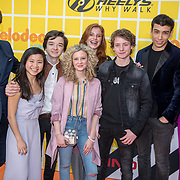 NLD/Amsterdam/20180325 - Nickelodeon Kid's Choice Awards 2018, Spelers uit de serie De Ludwigs, Luca Hollestelle, Cedric van den Abbeele, Rosaline Lantink, Yassine El Ouardi,  met Bastiaan Ragas en Tooske Breugem