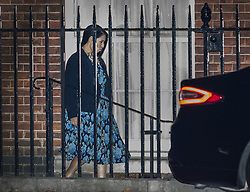 © Licensed to London News Pictures. 08/11/2017. London, UK. International Development Secretary Priti Patel is seen walking in the back door to Downing Street after being called back from Kenya. MS Patel is facing criticism after details were revealed of secret meetings with Israeli officials during her holiday without the knowledge of The Foreign Office. Photo credit: Peter Macdiarmid/LNP