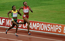 30-08-2015 CHN: IAAF World Championships Athletics day 9, Beijing<br /> De Amerikaanse Allyson Felix en haar teamgenotes Sanya Richards-Ross, Natasha Hastings en Francena McCorory lieten zich in de finale van de 4x400 meter verrassen door Jamaica, Novlene Williams-Mills<br /> Photo by Ronald Hoogendoorn / Sportida