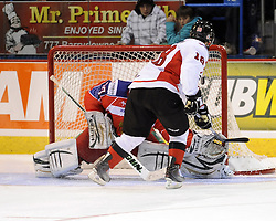 Joey Hishon helped Team OHL to a 2-1 shootout win over Russia in Game 4 of the SUBWAY Super Series in Sudbury, ON on Monday Nov. 15, 2010.  Photo by Aaron Bell/OHL Images