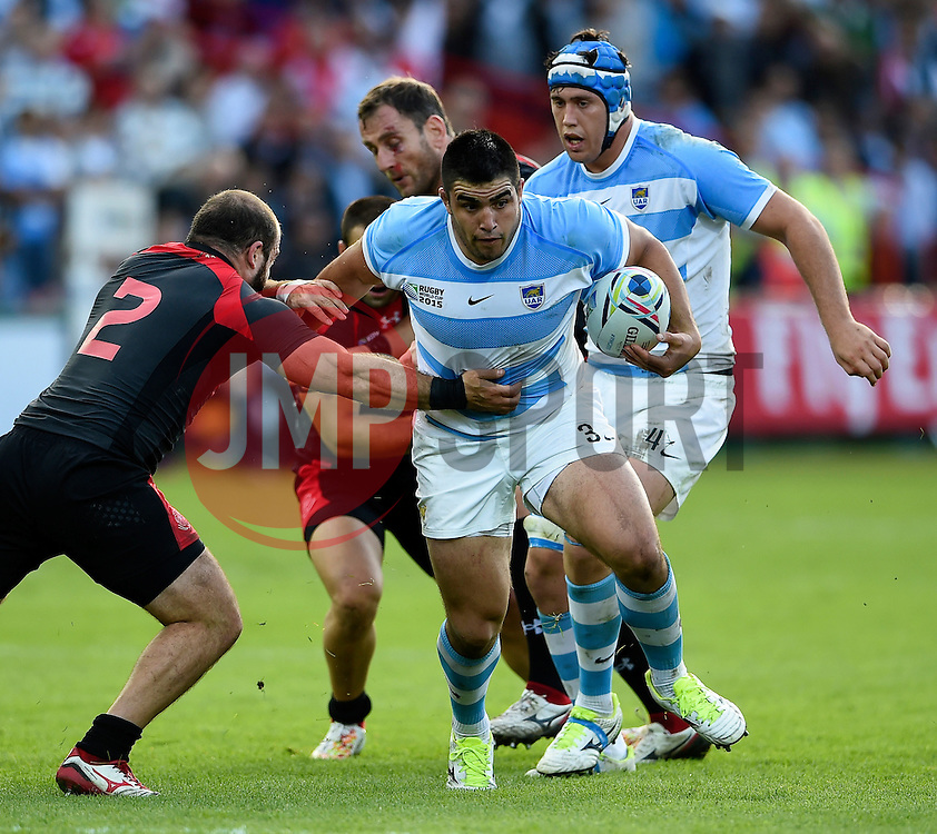 Nahuel Tetaz Chaparro of Argentina in possession - Mandatory byline: Patrick Khachfe/JMP - 07966 386802 - 25/09/2015 - RUGBY UNION - Kingsholm Stadium - Gloucester, England - Argentina v Georgia - Rugby World Cup 2015 Pool C.