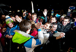 Peter Prevc, Silver and bronze medalist in ski jumping  at reception of Slovenia team arrived from Winter Olympic Games Sochi 2014 on February 19, 2014 at Airport Joze Pucnik, Brnik, Slovenia. Photo by Vid Ponikvar / Sportida