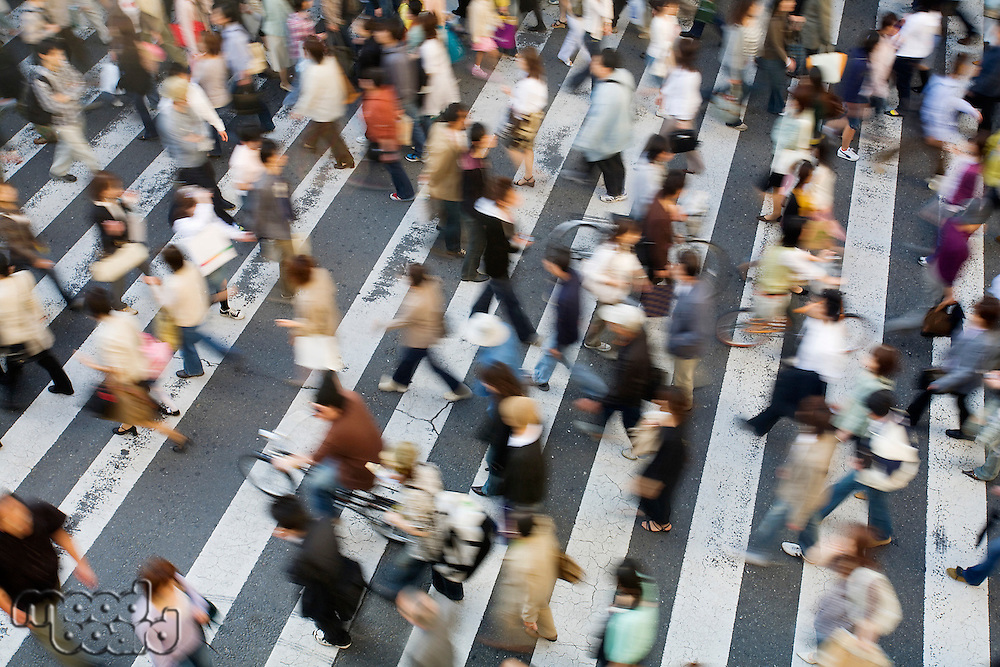 Japan Osaka People crossing street  view from above motion blur