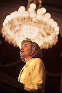 First Lady Hillary Rodham Clinton testfies on her health care legislation in October 1993..Photograph by Dennis Brack bb30