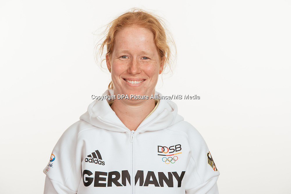 Kerstin Emrich poses at a photocall during the preparations for the Olympic Games in Rio at the Emmich Cambrai Barracks in Hanover, Germany, taken on 18/07/16 | usage worldwide