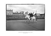 Aspiring cowboys enjoy the freedom of the road in Dublin.<br /> <br /> 18th February 1961<br /> 18/02/1961