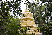 THIMMAMMA MARRIMANU, INDIA - 29th October 2019 - Hindu temple architecture at Thimmamma Marrimanu banyan tree - the world's largest single tree canopy. Andhra Pradesh, India.