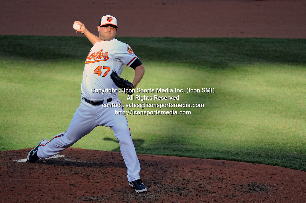 31 March 2013:  Baltimore Orioles relief pitcher Evan Meek (47) makes his Orioles debut in relief at Camden Yards in Baltimore, MD. where the Baltimore Orioles defeated the Boston Red Sox, 2-1 in the Orioles home opener.