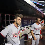NEW YORK, NEW YORK - May 17: Bryce Harper #34 of the Washington Nationals and Danny Espinosa #8 of the Washington Nationals in the dugout preparing to bat during the Washington Nationals Vs New York Mets regular season MLB game at Citi Field on May 17 2016 in New York City. (Photo by Tim Clayton/Corbis via Getty Images)