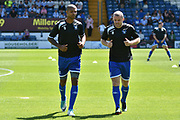 Bury Forward, Jermaine Beckford (9) and Bury Midfielder, Stephen Dawson (8)  during the Pre-Season Friendly match between Bury and Huddersfield Town at the JD Stadium, Bury, England on 16 July 2017. Photo by Mark Pollitt.