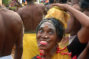 Udappuwa festival. The village, men and women, gather at the Mariamman Kovil in the north of the village. Here they bathe at the well, fall into a deep trance, dance kavadi, then walk south to the main Vishnu Kovil, stopping at a Kataragama shrine on the way...The trance is very strong, they often have to be restrained by family & friends, screaming as this is done.