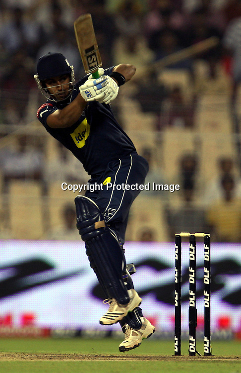 Deccan Chargers Batsman Monish Mishra Hit The Shot During Kolkata Knight Riders vs Deccan Chargers Match In Indian Premier League - 30th match Twenty20 match | 2009/10 season Played at Eden Gardens, Kolkata  1 April 2010 - day/night <br />(20 over match)