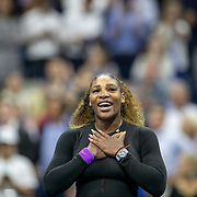 2019 US Open Tennis Tournament- Day Eleven.  Serena Williams of the United States celebrates her victory against Elina Svitolina of the Ukraine after her on court interview after the Women's Singles Semi-Finals match on Arthur Ashe Stadium during the 2019 US Open Tennis Tournament at the USTA Billie Jean King National Tennis Center on September 5th, 2019 in Flushing, Queens, New York City.  (Photo by Tim Clayton/Corbis via Getty Images)