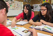 Sixth graders study geography in Spanish at Wharton K-8 Dual Language, April 16, 2015.