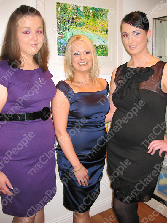 Orla Keating, Brid Carmody and Clodagh Cullinan at the opening of Anne Leavy's first solo art exhibition at her newly re-located Health and Beauty Centre in Francis Street, Ennis.